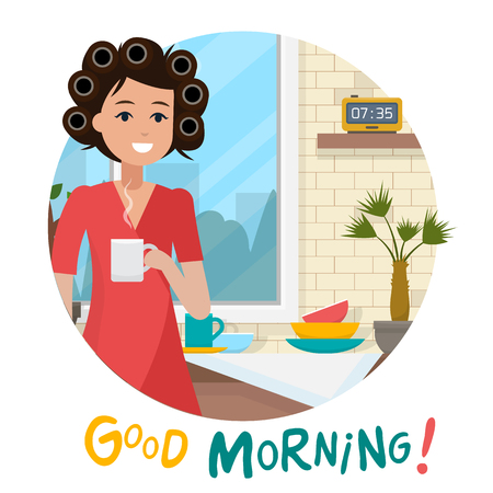 Woman in morning with cup and clock. Breakfast in home. Flat style  illustration.