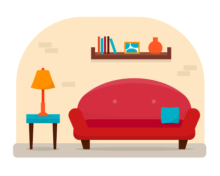 luxury homes: Living and dining room with furniture. Cozy interior with sofa and table with chair in home. Flat style illustration.