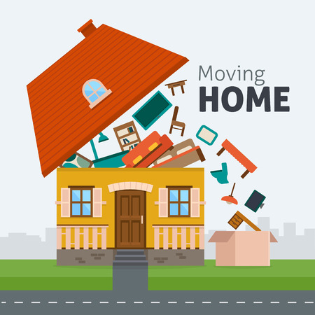 Moving home. Family moving out of the house with furniture in box. Flat style illustration.