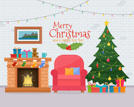 Christmas room interior with sofa. Christmas tree and decoration. Gifts and fireplace. Flat style illustration. Illustration