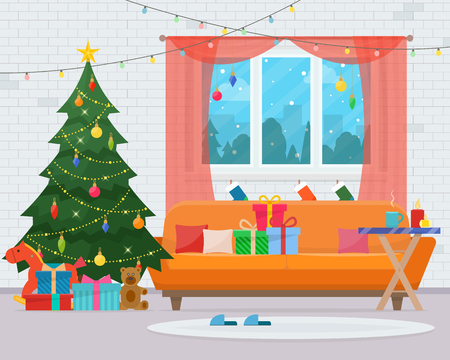 Christmas room interior. Christmas tree, sofa, gifts and decoration. Cozy home holiday. Flat style illustration.