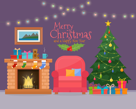 Christmas room interior with sofa. Christmas tree and decoration. Gifts and fireplace. Flat style illustration. Çizim