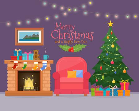 Stanza di Natale interni con divano. Albero di Natale e decorazioni. Articoli da regalo e camino. illustrazione stile piatto. Archivio Fotografico - 65709044