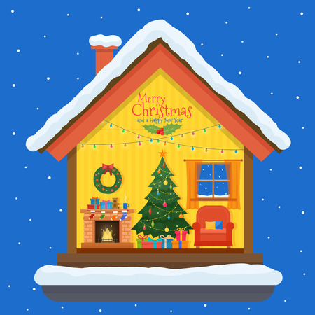 cutaway drawing: Christmas house in cut with snow. House interior with a furniture, fireplace, christmas tree, gifts, lights, decorations. Flat style illustration. Illustration