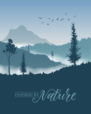 fog forest: Nature mountains background. Forest tree and fog. Illustration