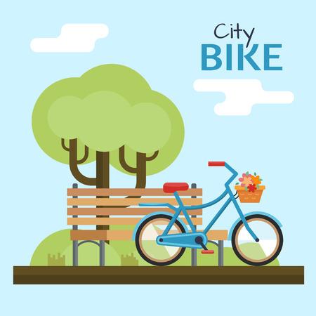 nature woman: Woman bike. Bicycle on nature background. Illustration