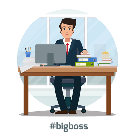 workspace: Businessman in workplace in office. Worker with suitcase in cabinet with workspace with table and computer with big window. Big boss office. Flat style vector illustration.