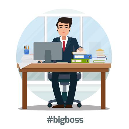 Hombre de negocios en el lugar de trabajo en la oficina. Trabajador con la maleta en el armario con espacio de trabajo con mesa y el ordenador con la ventana grande. oficina de la protuberancia grande. ilustración vectorial de estilo plano.