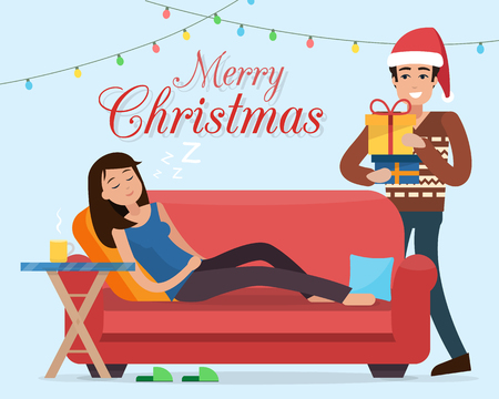 Christmas home. Man in Santa hats gives gifts dreaming woman on sofa. Family celebration. Flat style illustration. Illustration
