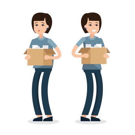 Dismissed woman. Fired from job. New job. Box with office things. Flat style illustration.