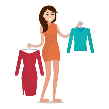 Woman with cloths. Girl try clothing. Flat style illustration.