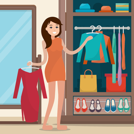 Woman near wardrobe for cloths with mirror. Girl try clothing. Closet with bags, boxes and shoes. Flat style illustration.