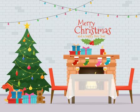 クリスマスの部屋のインテリア。クリスマス ツリー、テーブル、ギフトおよび装飾。居心地の良い家の休日。フラット スタイルのベクトル図です。