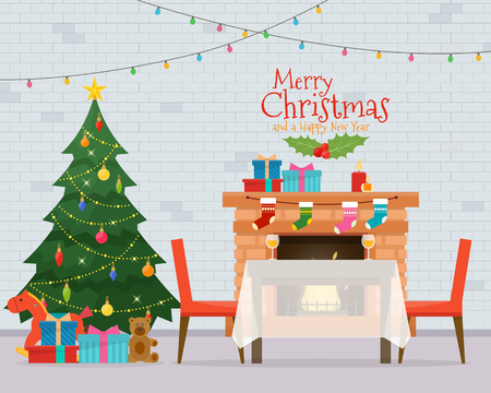 Christmas room interior. Christmas tree, table, gifts and decoration. Cozy home holiday. Flat style vector illustration. Ilustração