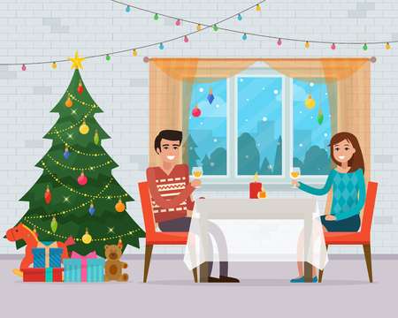 Christmas room interior. Family dinner with christmas tree, table, gifts and decoration. Cozy home holiday. Flat style vector illustration. Illustration