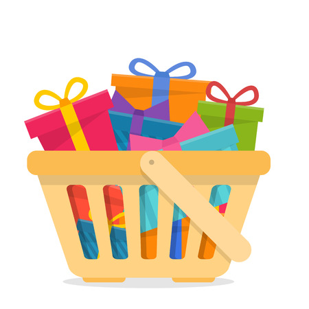 Shopping basket with gifts. Illustration