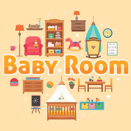Baby kamer met meubels.