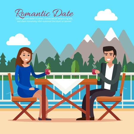 レストランで日付をカップルします。