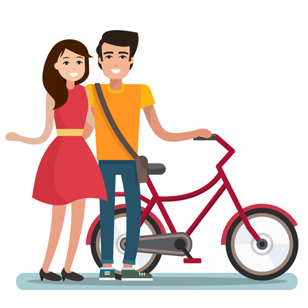 Man and woman with bicycle.