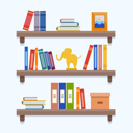 Shelves with book
