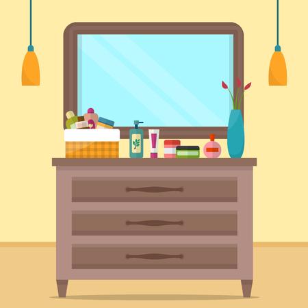 テーブルと女性の私室  イラスト・ベクター素材