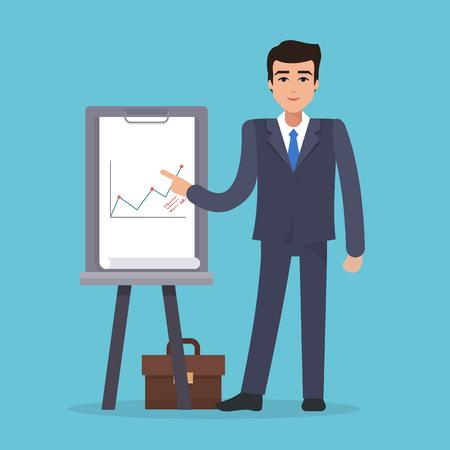 Business man with white board Ilustração