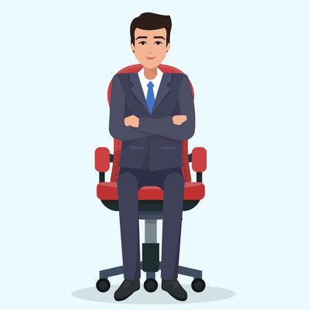 ビジネスの男性が座っています。