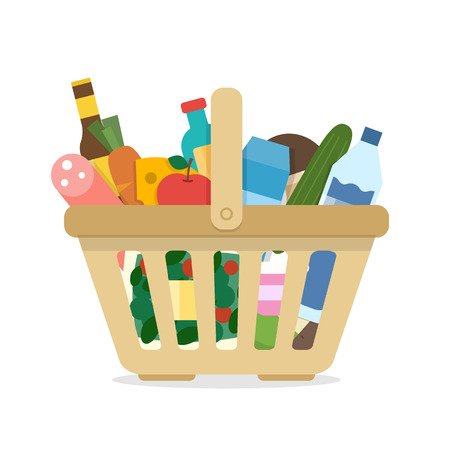 Basket with food and different goods.