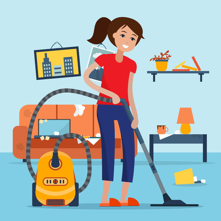 disorganized: Woman cleaning room with vacuum cleaner.