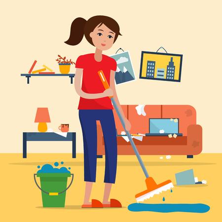 Mujer, limpieza, sucio, habitación, trapeador Foto de archivo - 77963902