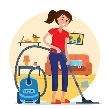 Mujer limpieza de la habitación con aspiradora. Foto de archivo - 77963904