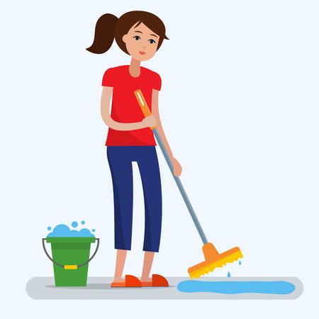 Femme nettoyant la pièce sale avec une vadrouille