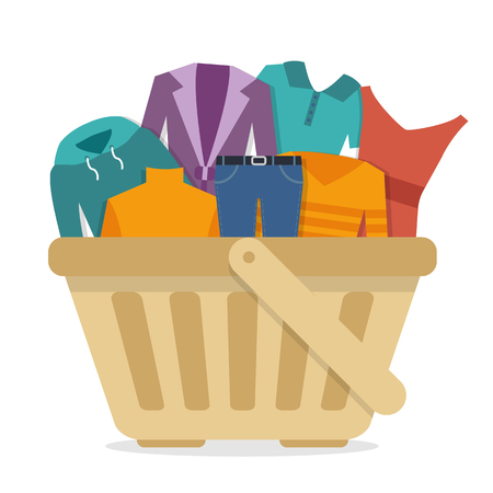 Shopping basket with clothes.