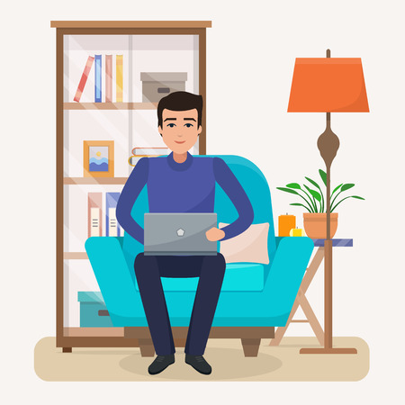 Freelancer man with computer on chair