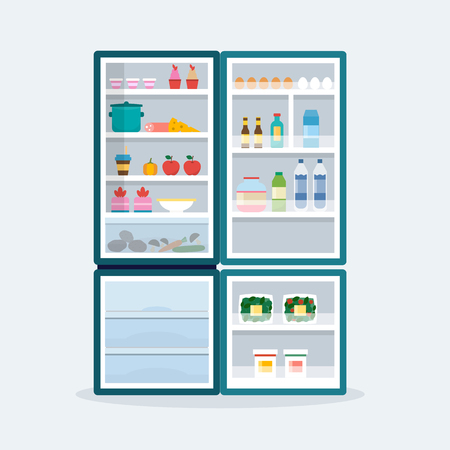 Open fridge with food Ilustração