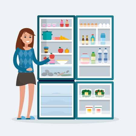 woman with fridge Stock Illustratie