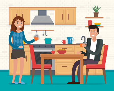 Couple in kitchen with furniture. Illustration