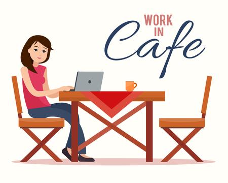 Woman working on laptop Illustration