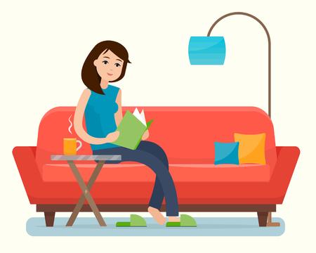 Young woman reading book on sofa at home. Ilustração