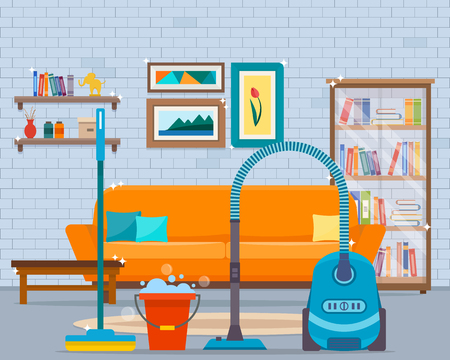Cleaning with vacuum cleaner Illustration