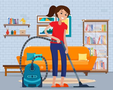 Mujer limpieza de la habitación con aspiradora. Foto de archivo - 77966098