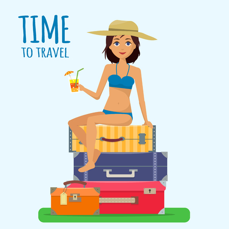 suitcase packing: Baggage, luggage, suitcases and girl in swimsuit with cocktail on tropical background.