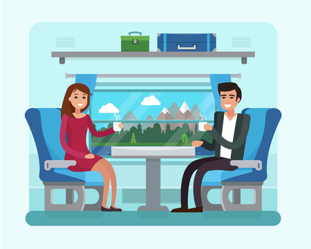 Passenger train inside. Man and woman seat in railway transport. Ilustrace