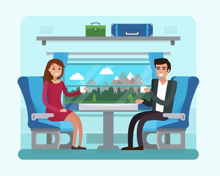 Passenger train inside. Man and woman seat in railway transport. Illustration