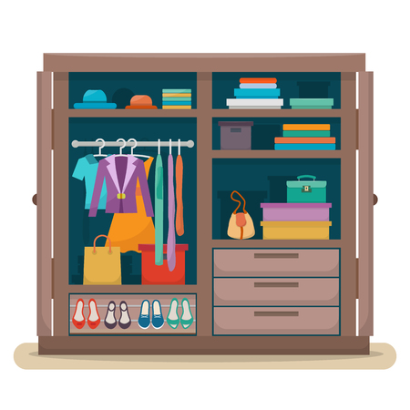 closet: wardrobe with clothes