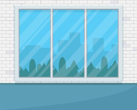 大きな窓と空の部屋。  イラスト・ベクター素材