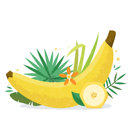 Banana with plants and flowers. Ilustracja