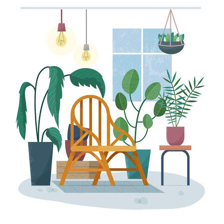 Chair in room with plants. House garden.