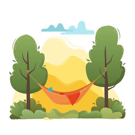 Summer hammock with trees in forest and garden, mountains and clouds.