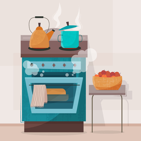 Stove in kitchen. Oven with dishes Illustration